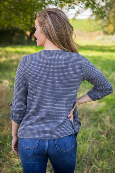 Everything I Know Waffle Knit Cardigan in Charcoal - Filly Flair