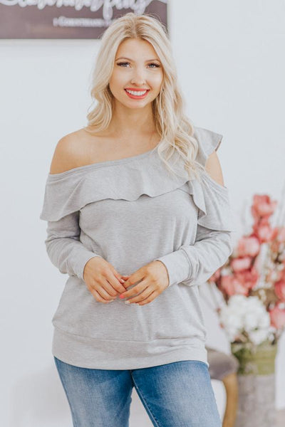 The Last Night Cold Shoulder Ruffle Neckline Long Sleeve Top in Grey - Filly Flair