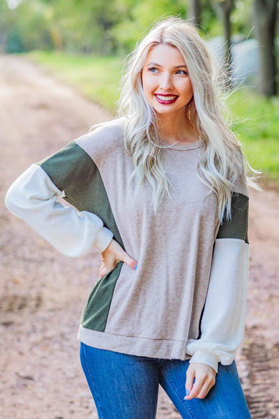 I Got No Rules Waffle Color Block Long Sleeve Cuffed Hem Top in Olive Taupe - Filly Flair