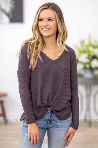 Keep it Simple Black Trim Long Sleeve Elbow Patch Top in Charcoal