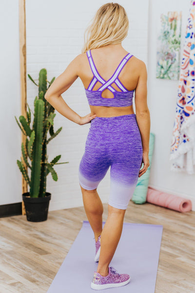 Changing My Ways Tie Dye Criss Cross Sports Bra in Purple - Filly Flair