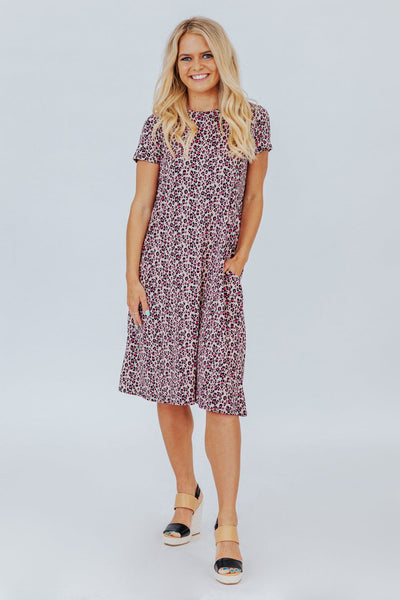 Welcome to the Jungle Leopard Print Swing Dress in Khaki and Pink - Filly Flair