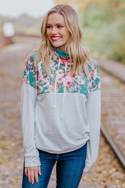 Fast Forward Floral Long Sleeve Mock Neck w/ Strings in Heathered Light Grey - Filly Flair