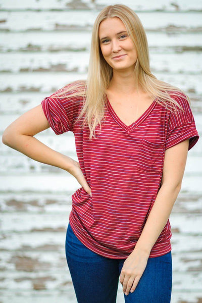 Sound The Alarm Striped Short Sleeve Tee Rainbow Pocket in Burgundy - Filly Flair