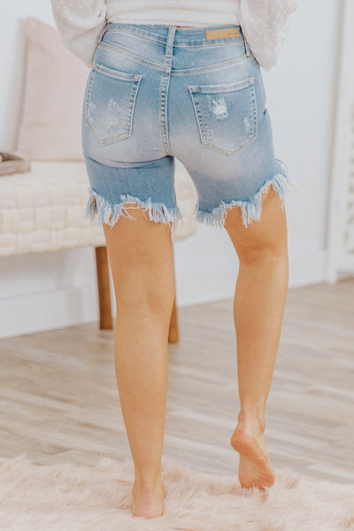 Cali Cello High Rise Light Denim Uneven Fray Hem Shorts - Filly Flair