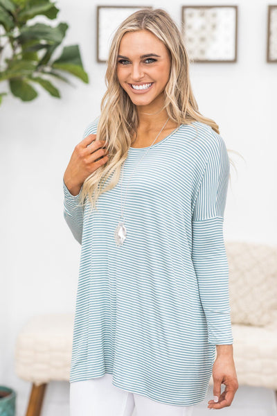 Achieve Greatness Striped Top In Sea Blue - Filly Flair