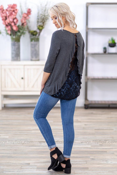 You Say It Best 3/4 Sleeve Ruffle and Lace Back Detail Top in Charcoal - Filly Flair