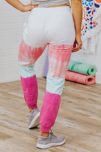Paint Me A Picture Tie Dye Joggers in Pink - Filly Flair