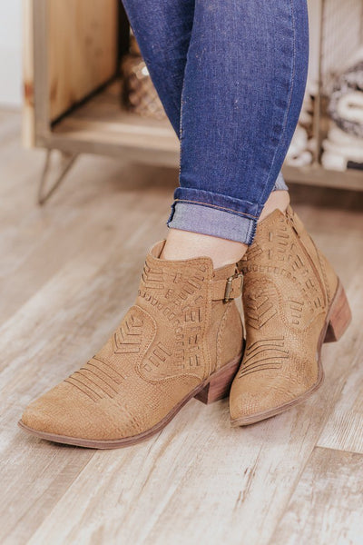 Last Call Whip Stitching Booties in Tan - Filly Flair