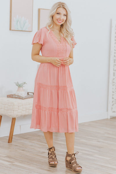 Far Better Things Ahead Lace Trim Ruffle Tiered Dress in Peach - Filly Flair