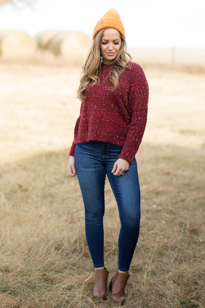 You've Earned It Confetti Sweater in Burgundy - Filly Flair