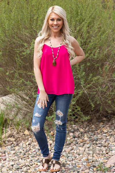 #ST4# The Final Say Woven Neckline Tank Top in Fuschia - Filly Flair