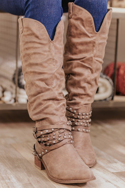 Dixie Slouchy Embellished Boots in Taupe - Filly Flair
