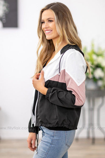 Running Through My Head Color Block Hooded Jacket in White Mauve Black - Filly Flair