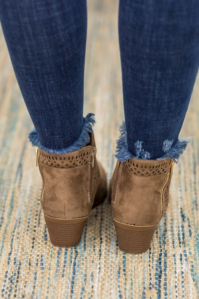Dance To Your Own Beat Short Faux Suede Booties In Taupe - Filly Flair