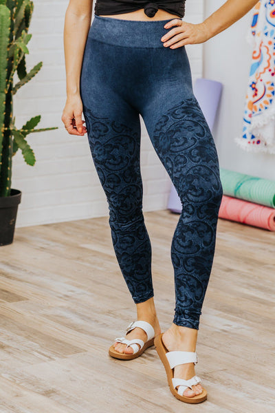 I'm Wide Awake One Size Leggings in Dark Blue - Filly Flair