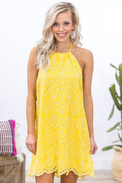 Brighten Your Day Eyelet Halter Neck Dress in Yellow - Filly Flair