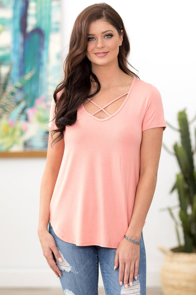 All My Days Short Sleeve Criss Cross Top in Peach - Filly Flair