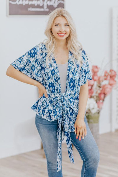 When You're Away Wrap Blouse Top in Blue - Filly Flair