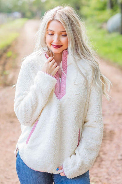 Easier To Love Quarter Zip Sherpa in Ivory / Mauve - Filly Flair