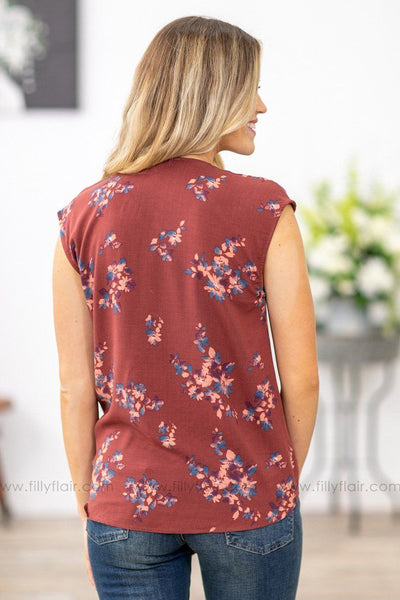 So Much More Cap Sleeve Floral Tied Knot Top in Rosewood - Filly Flair