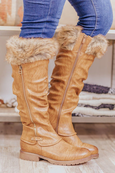 Our First Date Fur Zipper Tall Boot in Brown - Filly Flair