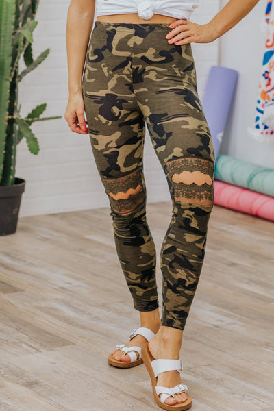 Soul On Fire Camo Lace Open Knees Leggings in Olive Green - Filly Flair