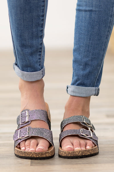 Bright Lights Double Strap Buckle Sandals in Silver - Filly Flair