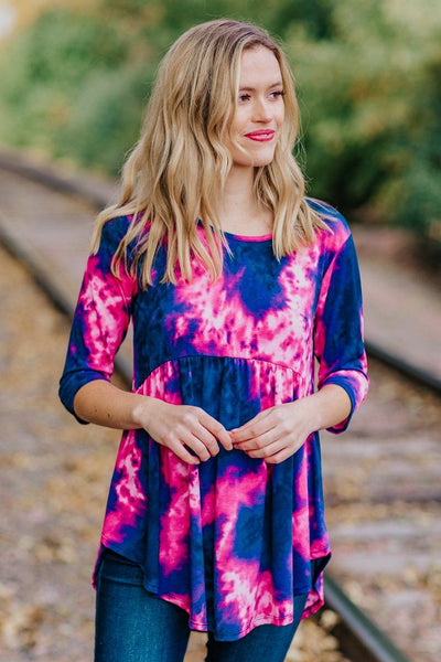 Your Opening My Eyes Tie Dye 3/4 Sleeve Baby Doll Top in Navy Pink - Filly Flair