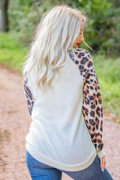 Living For The Weekend Leopard Long Sleeve Turtleneck Waffle Sweater in Ivory - Filly Flair