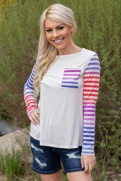 Whatever You've Got Long Sleeve Striped Pocket Top in Red Purple Blue - Filly Flair