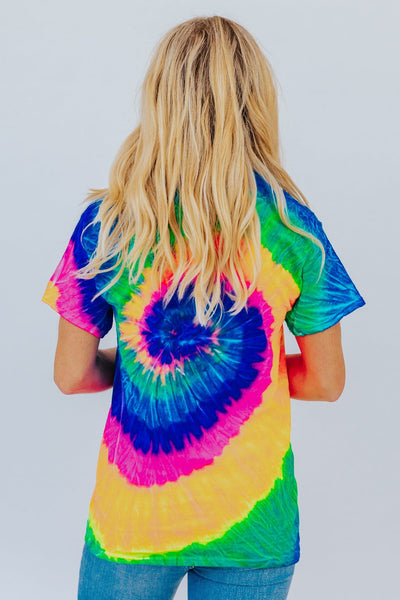 Heart Wants What It Wants Tie Dye Short Sleeve Top in Blue - Filly Flair