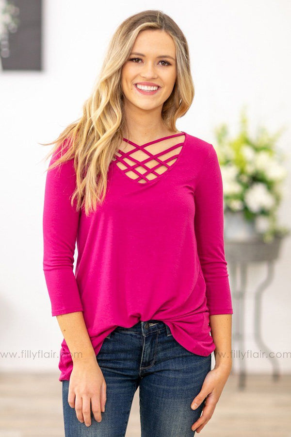 Where We Wanna Go 3/4 Sleeve Criss Cross Top In Magenta - Filly Flair