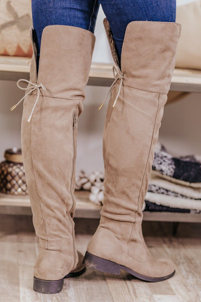 Your On Top Of The World Tall Suede Boots in Taupe - Filly Flair