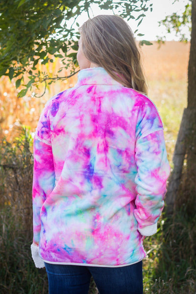 Reversible Keep Calm Tie Dye Long Sleeve Pull Over in White - Filly Flair