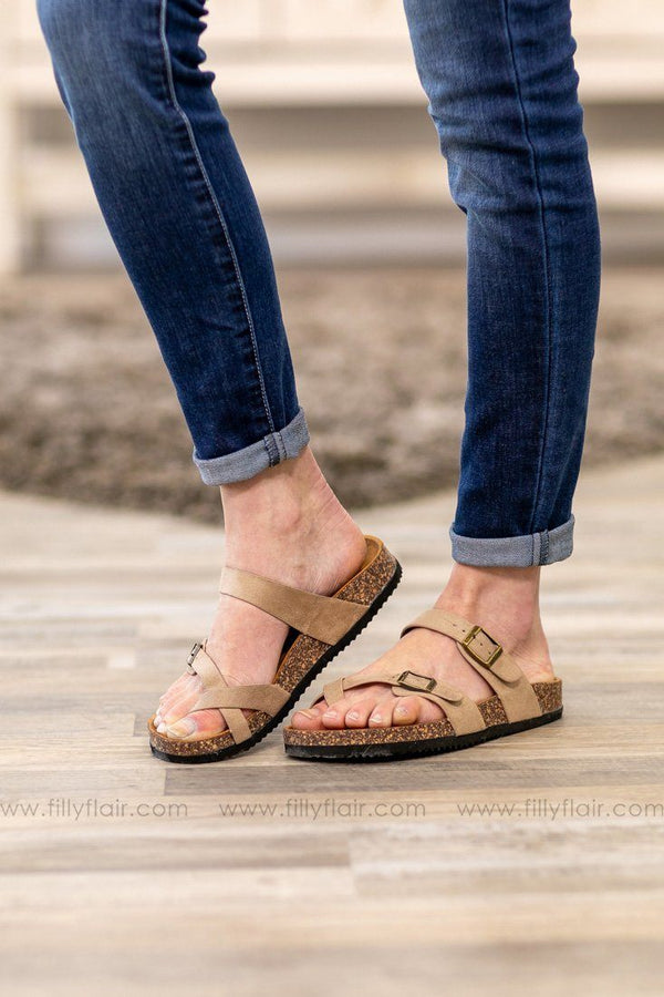 Where We'll Be Double Strap Cross Toe Sandals in Taupe - Filly Flair