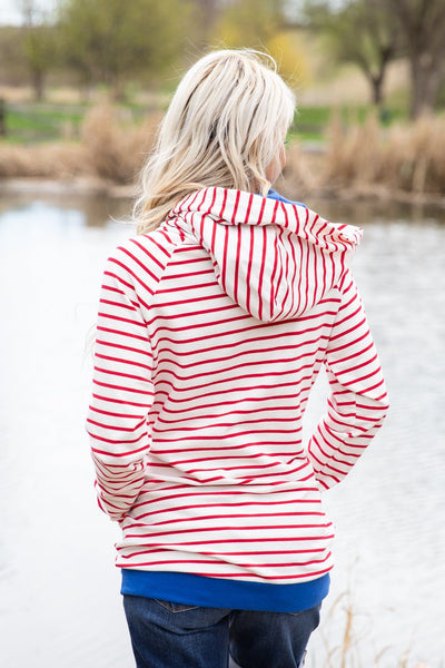 Love You Like No Tomorrow Striped Double Hooded Sweatshirt in Red Blue - Filly Flair