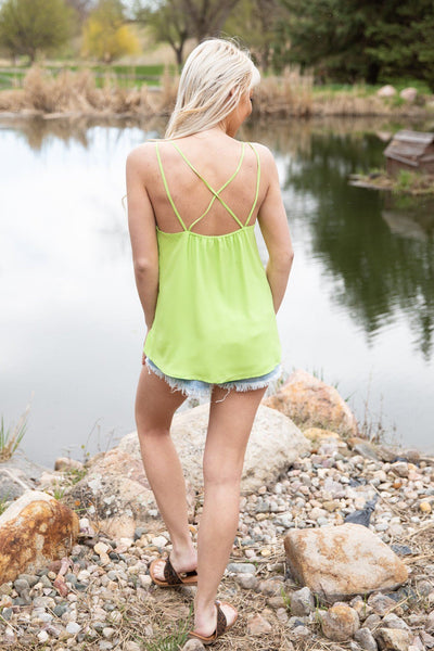 #ST1# This Feels Right Criss Cross Strap Tank Top in Neon Green - Filly Flair