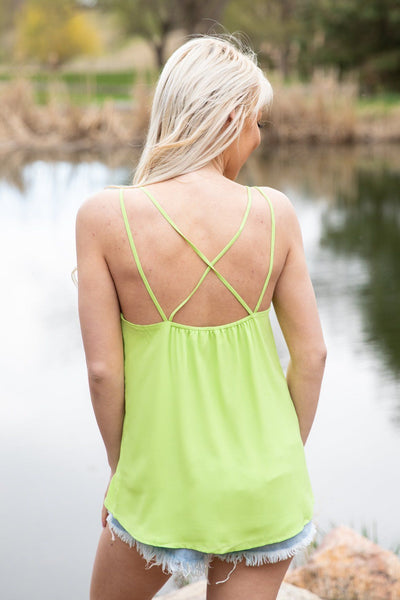This Feels Right Criss Cross Strap Tank Top in Neon Green - Filly Flair
