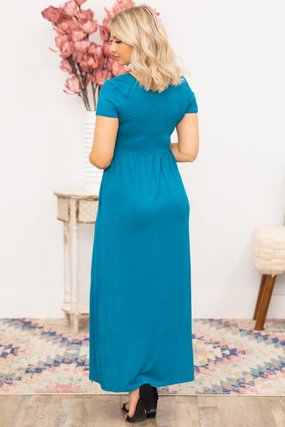 Just Like Heaven Maxi Dress in Dark Teal - Filly Flair