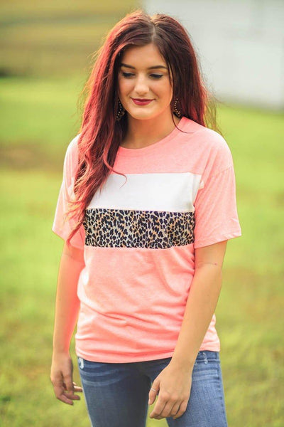 Reminiscing Leopard Short Sleeve Color Block Stripe Tee in Neon Pink - Filly Flair