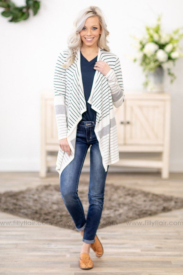 Peace of Mind Long Sleeve Striped Waterfall Cardigan in White - Filly Flair
