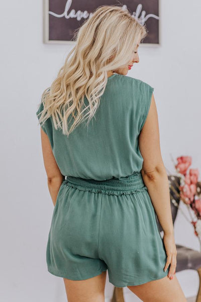 Shared Fate Ruffle Elastic Waist Pockets Short Sleeve Romper in Sage - Filly Flair