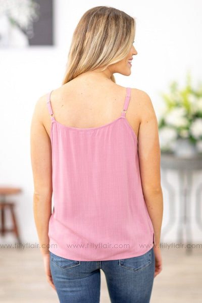 Forever Yours Button Up Tank Top in Mauve - Filly Flair