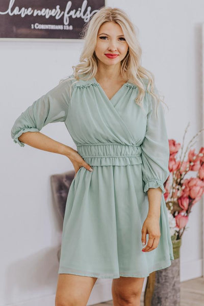 Don't Call Me Baby 3/4 Sleeve Dress in Green - Filly Flair