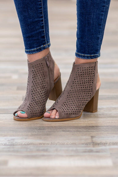 Love Me True Laser Cut Open Toe Suede Heels in Taupe - Filly Flair