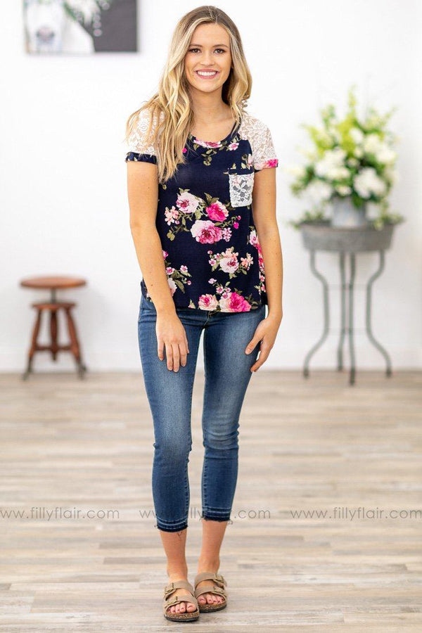 Dare To Dream White Lace Sleeve and Chest Pocket Floral Top in Navy - Filly Flair