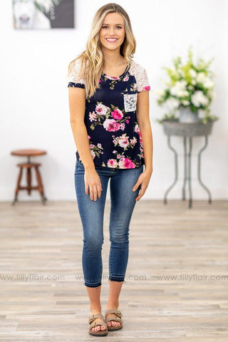 Filly Flair: Lean on Me Floral On Navy Long Sleeve Top in Pink