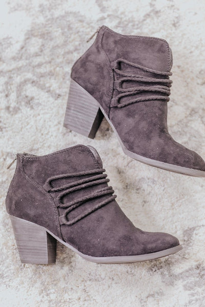 Staying Out Of Trouble Suede Booties In Black - Filly Flair