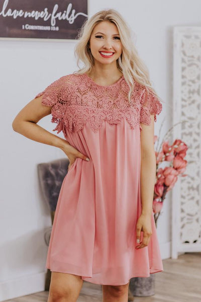 Intentions Are Good Lace Neckline Pleated Short Sleeve Short Dress in Dusty Pink - Filly Flair